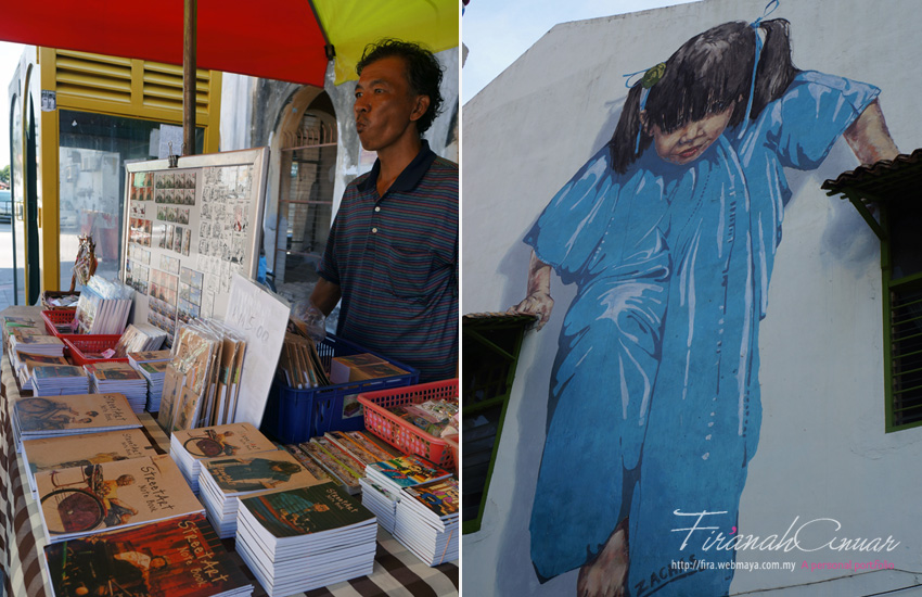 "Left: Sellers by the roadside converting the street arts into notepad covers & keychain for some small bucks. Right: ""Little Girl in Blue"" Mural, Muntri Street, George Town, also by Ernest Zacharevic."