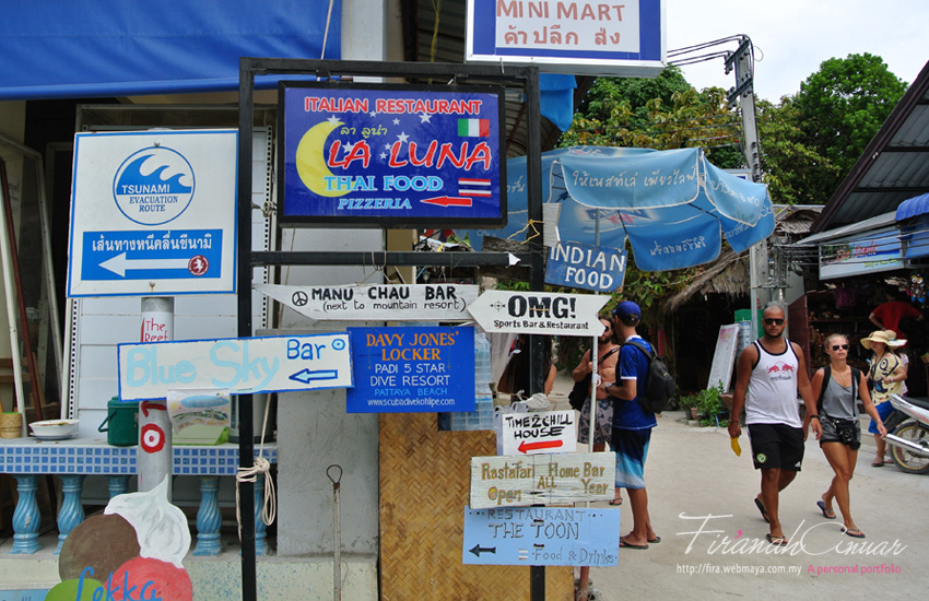 Walking Street Lipe - it is what the name say it is. Walking Street is about 5-10 minutes walk if you're at staying at Pattaya beach and it stretches until Sunrise Beach. You will find restaurants, quaint cozy cafes with tons of books and wifi, massage huts or even an Italian Ice cream shop.
