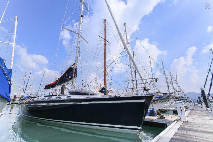 Luxury sailing yacht in marina, Langkawi, Kedah
