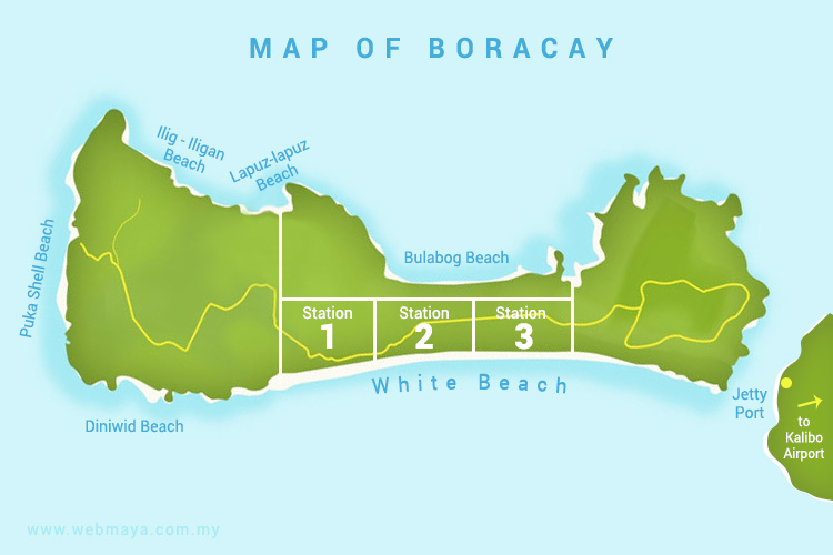 Map of Boracay - Station1, 2 and 3