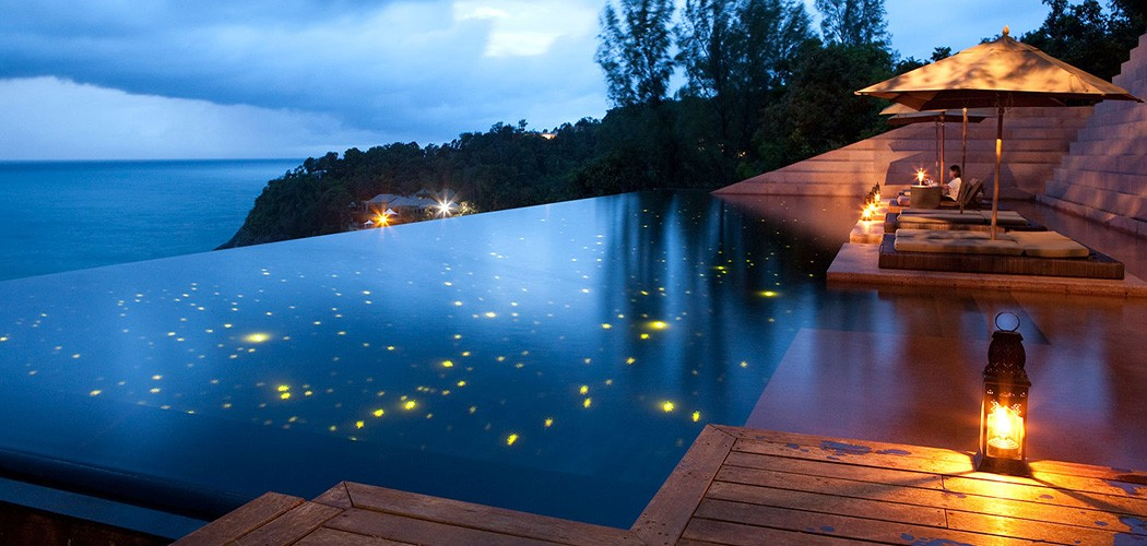 Nothing spells romantic than an infinity fiber optic lit pool and a starry sky