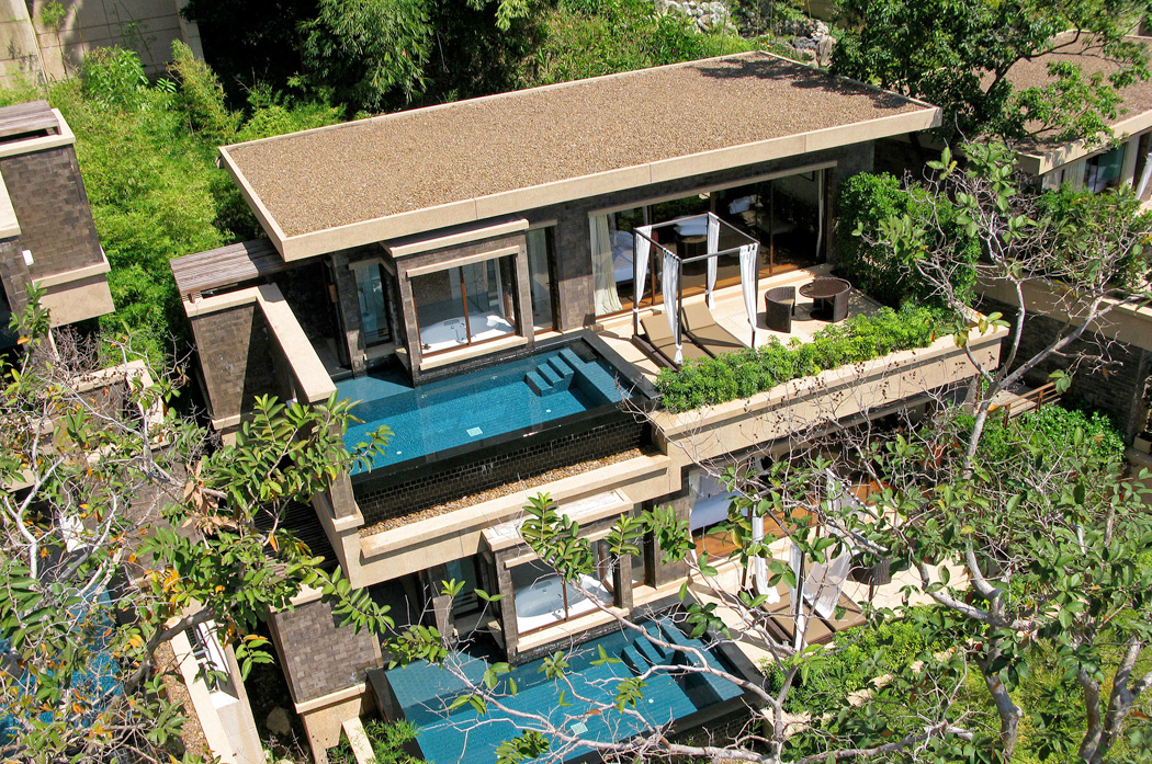 A birds eye view of Paresa's suites and villas
