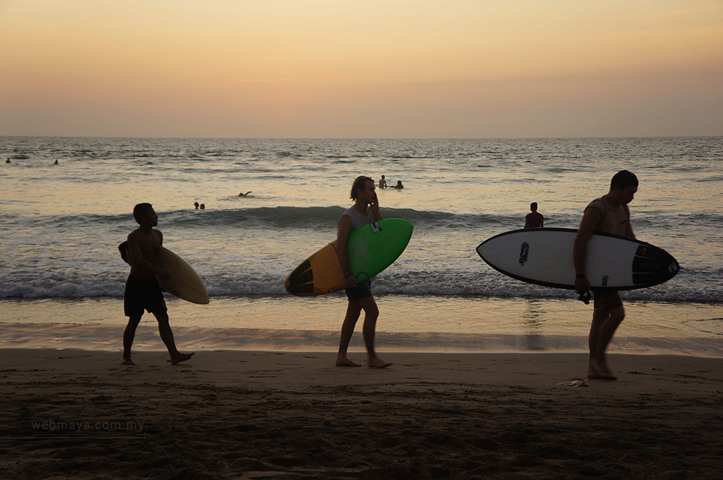 Surfers at Kuta beach
