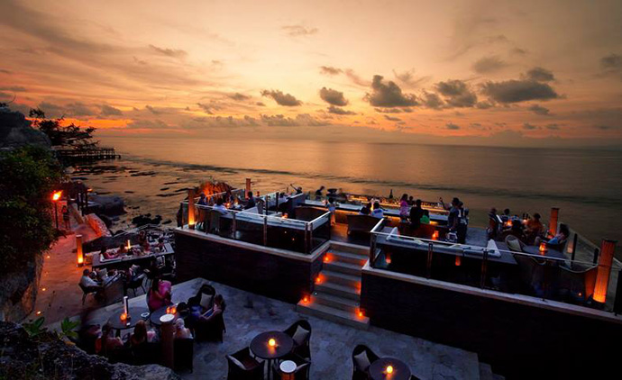 Rock Bar Bali as seen during sunset