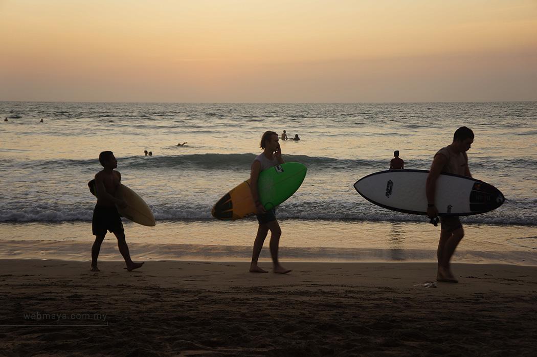 Surfers at Kuta beach